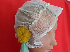 Jolie coiffe de mariage ancienne en dentelle tulle  et ruban Réf 12550