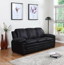 Classic Soft Bonded Leather Sofa with White Stitch Accent in Black
