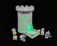 "Lighted 5"" Dice Tower, Castle, Dice Roller, Dice Tray, DnD, Stone & Green"