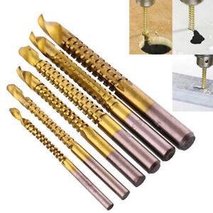 6PCS Twist Drill Bits HSS High Steel Titanium Saw Bits Drilling Wood Metal Set
