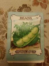 Vintage 1900's lithograph BEANS seed package, Chesmore seed company,