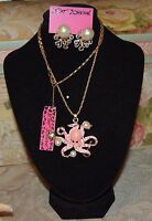 3 PC BETSEY JOHNSON PINK OCTOPUS W/CRYSTALS PEARLS NECKLACE EARRINGS & BRACELET