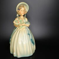 "Vintage LARGE Chalkware Colonial Lady Southern Belle Figurine Statue 10.5"" Tall"