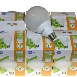 6 x 20W E27 Globe Lamp Low Energy fluorescent 89mm warm white 1160lm GE