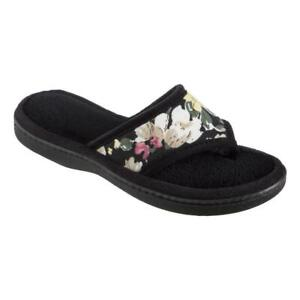 ISOTONER Women's Black Petunia Print MicroTerry Thong FlipFlop Slippers EVA Heel