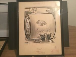 Al Liederman original art editorial cartoon Fire Island ,Robert Moses,corruption