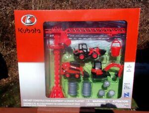 Kubota Construction Equipment & Crane Playset 1/64 Scale New Ray - New in Box