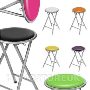 ROUND SOFT PADDED COLOURED SEAT FOLDING FOLDABLE STOOL CHAIR SILVER METAL FRAME