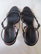 BCBG Max Azria Black / Metalic Trim Sandal Size 8 *Satin / Leather