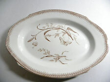 ANTIQUE 1878 T & R BOOTE SUMMERTIME BROWN TRANSFERWARE IRONSTONE 13 IN PLATTER