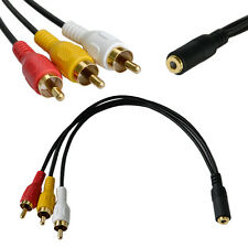 Professional 3.5mm Female Adapter to 3 RCA Male Plug Cable Audio Connector 25cm