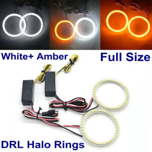 WHITE AMBER DUAL COLORS HALO RINGS ANGEL EYES ALFA  ROMEO SMD LED COMPLETE KIT