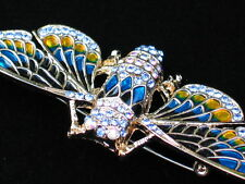 AB TEAL BLUE GOLD INSECT FLYING LOCUST BEE LOCUS CICADA BUG PIN BROOCH JEWELRY
