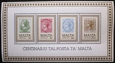 Centenary of Malta Post Office stamp sheet, 1985, Malta, SG ref: MS755, MNH