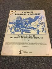 G2 THE GLACIAL RIFT OF THE FROST GIANT JARL, VG, D&D Dungeons Dragons TSR, 1978