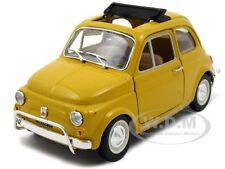 1968 FIAT 500 L YELLOW 1:24 DIECAST MODEL CAR BY BBURAGO 22099