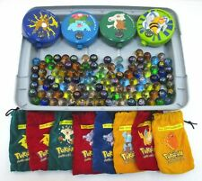Large Lot of 100+ POKEMON MARBLES w/ Containers & Bags Vintage 1990s