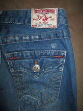 True Religion Size 25 Joey Flare Flap Pocket Destroyed Medium Blue Denim Womens