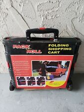 Foldable Plastic Shopping Cart Trolley Portable Pack&Roll Folding Grocery Basket