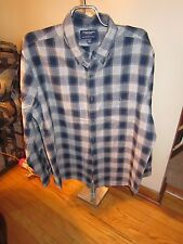 Men American Eagle Slim Fit Blue/Gray Plaid Button Shirt XXL Very Good Condition