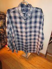 Men American Eagle Slim Fit Blue/Gray Plaid Button Shirt XXL Very Good Condition