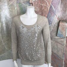 j. Crew J.crew Collection Beige Sequin Studio Sweatshirt Blouse Sweater Top XS