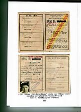 Army Republic South Vietnam 1967 Arvn Corporol First Class Drivers License