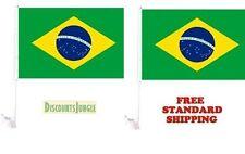 "2X Brasil Brazil World Cup Soccer Car Flag Flags For Car Window 18"" X 12"" Inch"