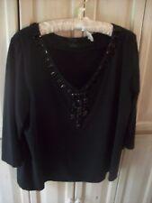 Talbots Petites Black Beaded V Neck 3/4 Sleeved Knit Top Size 2X