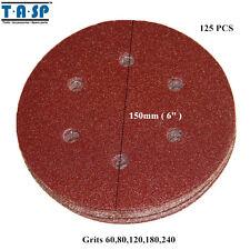 """125PC 6"""" 150mm Sandpaper Sanding Disc Rotary Hook Loop Sander Grit 60 240"""