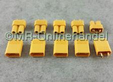 5 Paar ( 10 Stück ) Nylon XT30 Hochstrom Stecker Goldstecker + Buchse vergoldet