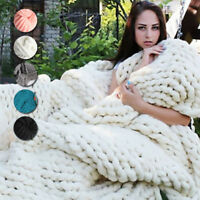 Hot~200x150CM Large Chunky Wool Hand Knitted Blanket Throw Rug Thick Bed Yarn