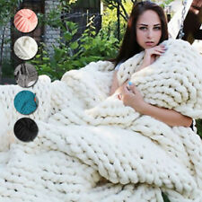 5 Colors Large Warm Sofa Chunky Knit Blanket Thick Bulky Knitted Throw