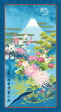 Kona Bay Japanese Asian Quilting Fabric - Mt. Fuji in Moonlight Panel - Blue