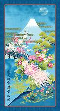 Kona Bay Japanese Asian Quilting Fabric - Mt. Fuji in Moonlight Panel - Blue