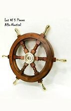 "24"" SHIP WHEEL WOODEN ~ BRASS HUB SHIP WHEEL~ PIRATE DECOR ~ NAUTICAL~ MARITIME"