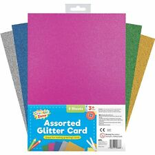 8 x A4 Thick Coloured Neon Glitter Card Art Craft Hobby School Scrapbook Purple