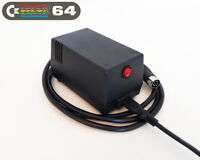 Commodore 64 Power Supply - C64 PSU,  (UK 230VAC plug), Black, LED, Power Switch