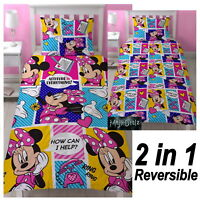 MINNIE MOUSE ATTITUDE SINGLE DUVET COVER SET 2 DESIGNS BEDDING KIDS GIRLS NEW