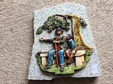 Décoration papy avec son petit fils sur plaque de marbre Vintage (2)