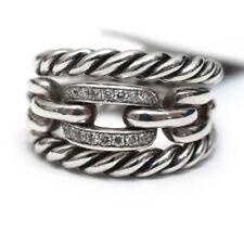 Nuevo David Yurman Wellesley fila 3 Anillo en plata y diamantes talla 8