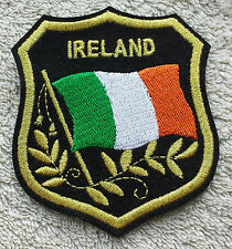 IRELAND FLAG IN SHIELD PATCH Embroidered Badge 7cm x 8cm Eire Irish Tricolour