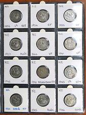 New Zealand 1933-1965 KGV-QEII Silver/Cupronickel Shilling Coin Album High Grade