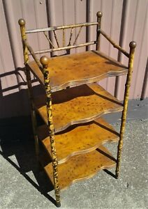 Antique Victorian Bamboo Stand Bookcase What Not Shelf 1920 Stick and Ball No 2