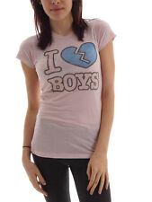 Local Celebrity T-Shirt Tee I Love Boys rosa kurzarm Print Rundhals