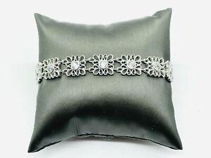 TACORI Sterling Silver CZ Diamonique Filigree Link Bracelet