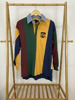 VTG 90s Disney Tigger Multi-Colored Striped Rugby Polo Long Sleeve Shirt Size L