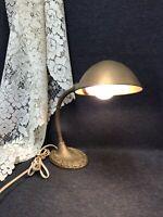 Vintage Gooseneck Desk Lamp Cast Iron Metal Shade Industrial WORKS
