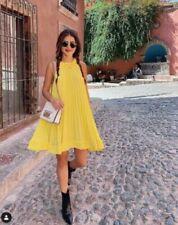 ZARA YELLOW PLEATED DRESS SIZE S,M,L