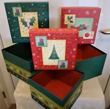 3  Christmas Gift Boxes Lids Nesting Tiered Cubes Display Presents Decoration